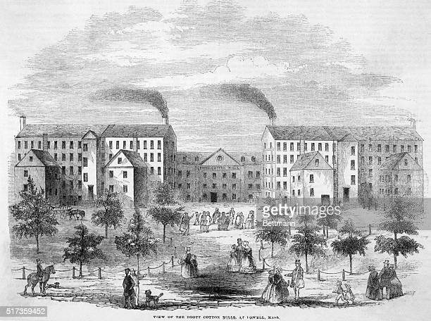Exterior view of the Boott Cotton Mills at Lowell Massachusetts Undated engraving