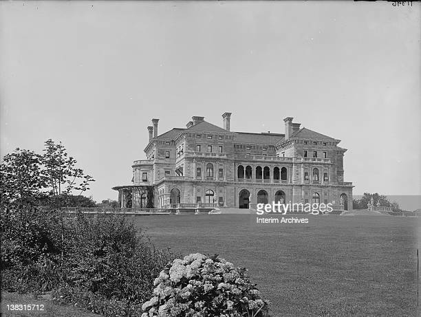 Exterior view of the Breakers former residence of Cornelius Vanderbilt located on the east side of Ochre Point Avenue in Newport Rhode Island early...