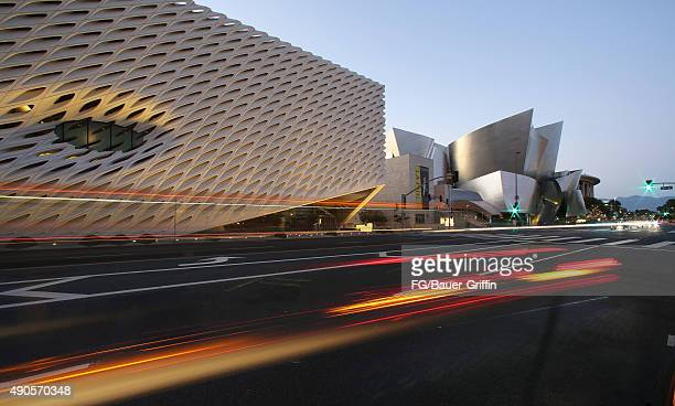 Exterior view of the Broad Museum Walt Disney Concert Hall and the Dorothy Chandler Pavilion on Grand Avenue on September 29 2015 in Los Angeles...