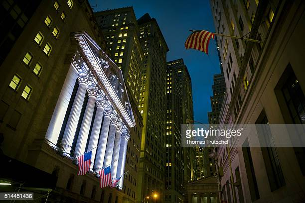 New York United States of America February 26 Exterior view of the building of the New York stock exchange at night on February 26 2016 in New York...