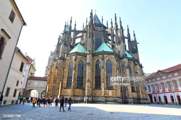 Exterior view of the Cathedral. St Vitus cathedral in the Prague Castle complex. The cathedral is a roman catholic metropolitan cathedral part of the...