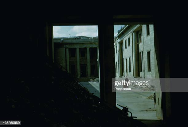 Exterior view of the central courtyard of the New Reich Chancellery in Berlin damaged and in ruins after the battle for Berlin in May 1945.