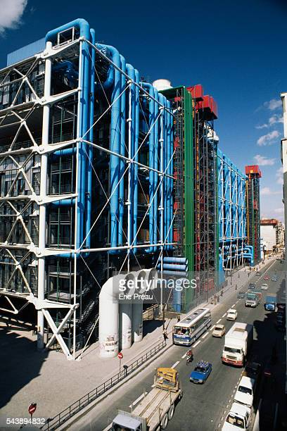 Exterior view of the Centre Georges Pompidou, also called Beaubourg, located in the center of Paris along rue Renard and rue Beaubourg. The center,...