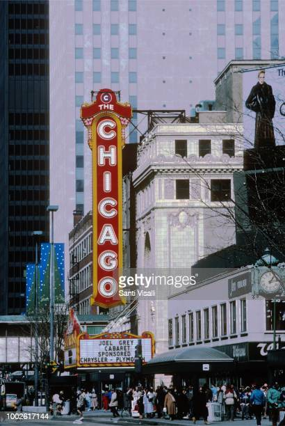 Exterior view of the Chicago Theater on March 3, 1987 in Chicago, Illinois.