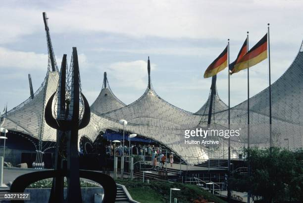 Exterior view of the contoured roof of the German Pavillion at the 1967 World's Fair in Montreal Canada 1967 German architects Frei Otto and Rolf...