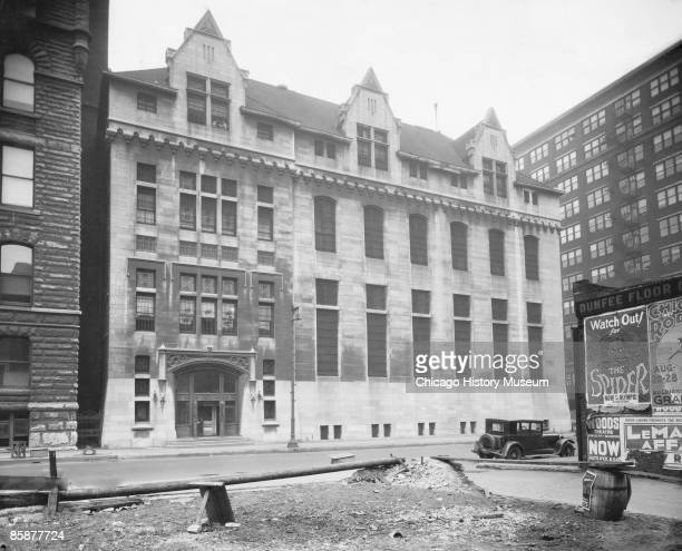 Exterior view of the Cook County Jail where murder suspects Leopold and Loeb were held during the trial Chicago ca1920s