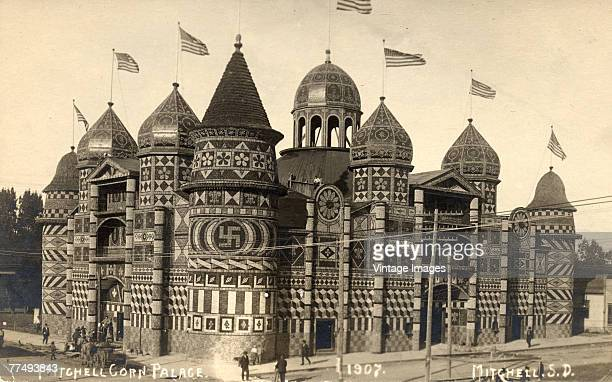 Exterior view of the Corn Palace Mitchell South Dakota 1907 The building decorated each year with different designs made with corn and various other...