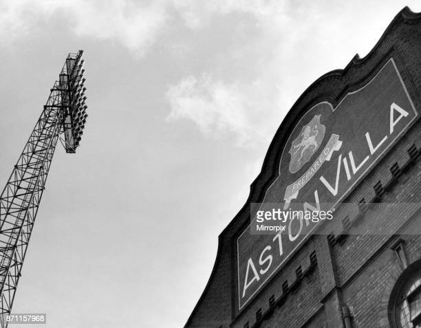 Exterior view of the entrance to Villa Park football stadium, and floodlights. Villa Park is the home to Aston Villa Football Club, Birmingham, West...