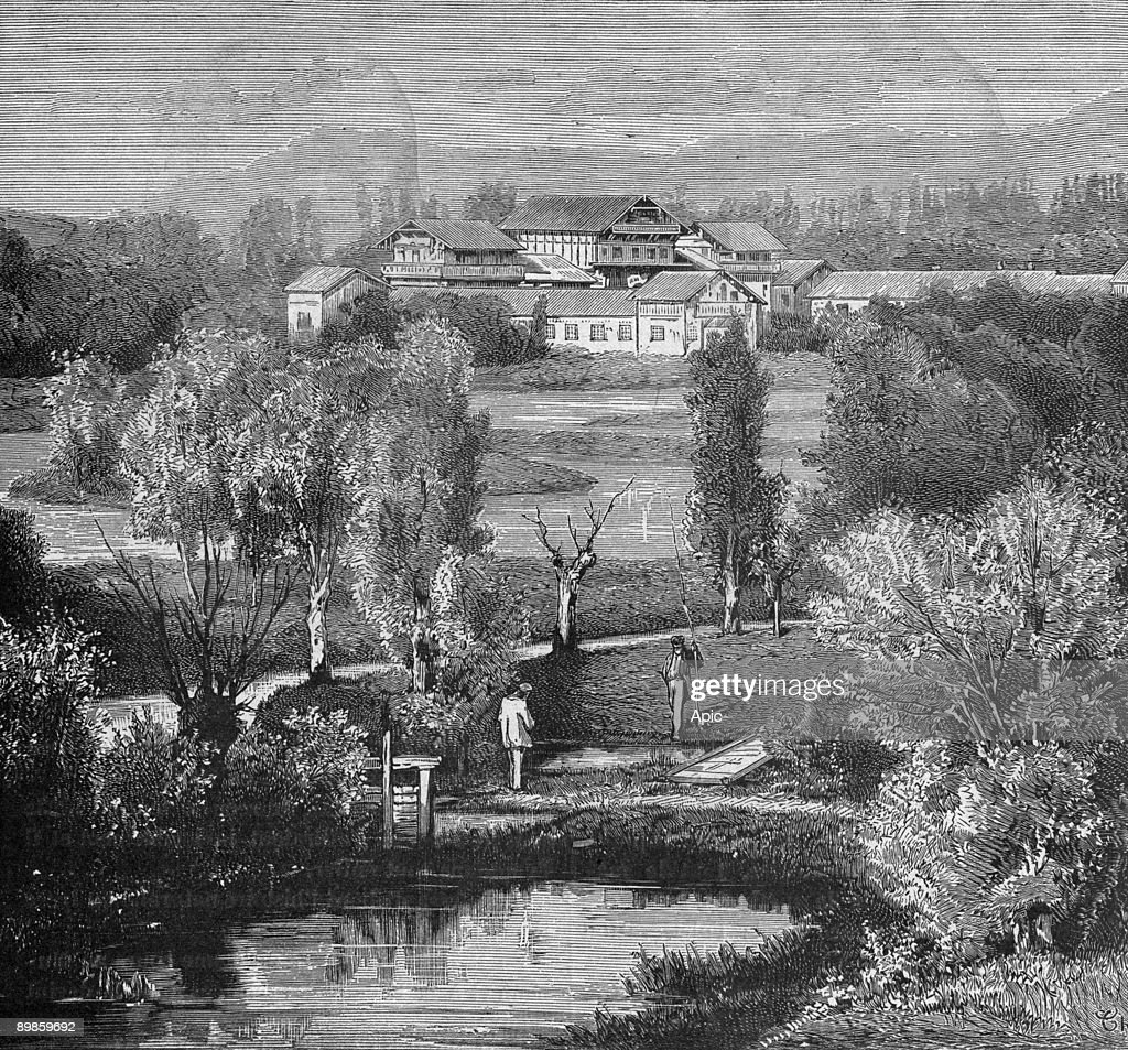 Exterior view of the establishment of fish farm Huningue circa 1860 engraving from the book 'Album of science famous scientist discoveries' in 1899 : News Photo