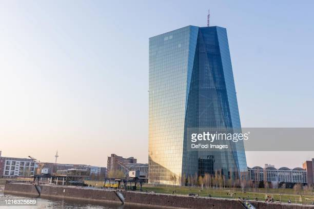 Exterior view of the European Central Bank on March 27, 2020 in Frankfurt am Main, Germany.