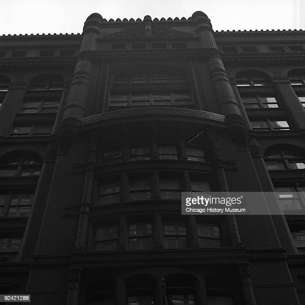 Exterior view of the facade of the Rookery Building, at 209 South LaSalle Street, on the corner of La Salle and Adams streets in the Loop community...