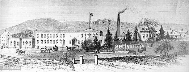 Exterior view of the factory of the Borden Condensed Milk Company at Brewster Station New York 1879