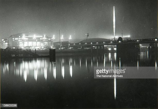 Exterior view of the Festival of Britain site View from the North Bank April 1951