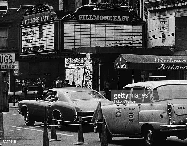 Exterior view of the Fillmore East theater located at 2nd Avenue and East 5th Street New York New York 1970s