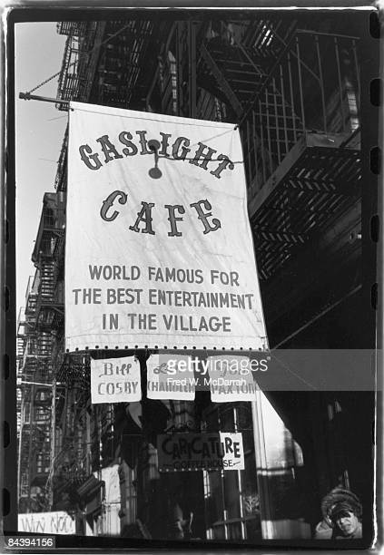 Exterior view of the Gaslight Cafe a coffee house and nightclub in Greenwich Village New York New York December 18 1962 The banner advertises...