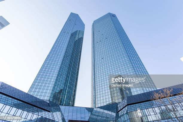 Exterior view of the headquarters of Deutsche Bank AG on March 27, 2020 in Frankfurt am Main, Germany.
