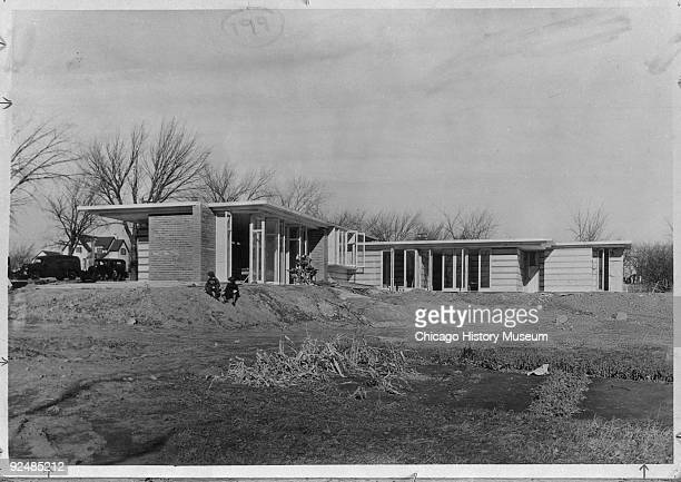 Exterior view of the Herbert Jacobs residence at 441 Toepfer Street in Madison WI 1938 Designed by Frank Lloyd Wright the view was probably taken...