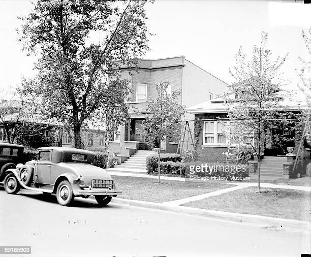 Exterior view of the home of Al Capone viewed at an angle from across the street located at 7244 Prairie Avenue in the Greater Grand Crossing...