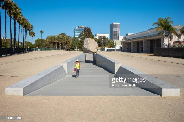 Exterior View of the Levitated Mass boulder exhibit at the Los Angeles County Museum of Art on July 30, 2020 in Los Angeles, California.