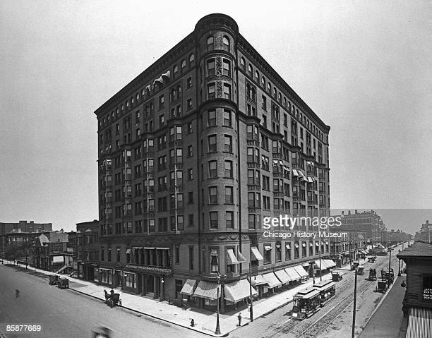 Exterior view of the Lexington Hotel located at the corner of Michigan Avenue and 22nd Street in Chicago ca1910s Al Capone ran his operations out of...