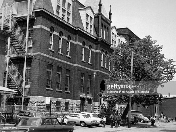 Exterior view of the Lorne Elementary School in PointeSaintCharles Montreal Quebec Canada May 1968 Photo taken during the National Film Board of...
