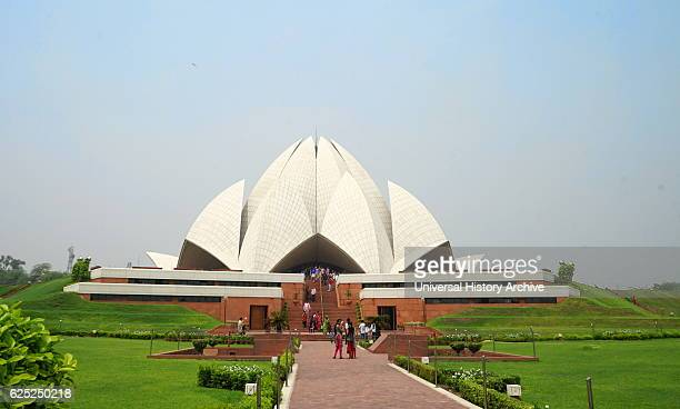 Exterior view of the Lotus Temple a Baha'i House of Worship in New Delhi designed by Fariborz Sahba an IranianAmerican Baha'i architect