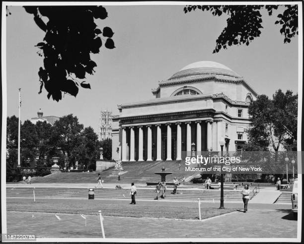 Exterior view of the Low Memorial Library at Columbia University, New York, New York, circa 1975.