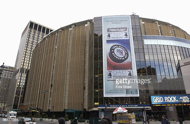Exterior view of the Madison Square Garden home of the New York Rangers taken on January 13 2003 in the New York City New York