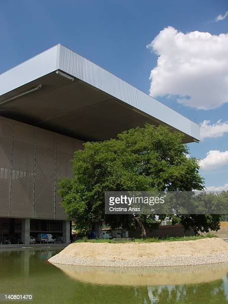 Exterior view of the Magic Box, a sports complex for tennis which was designed by French architect Dominique Perrault, is part of the infrastructure...