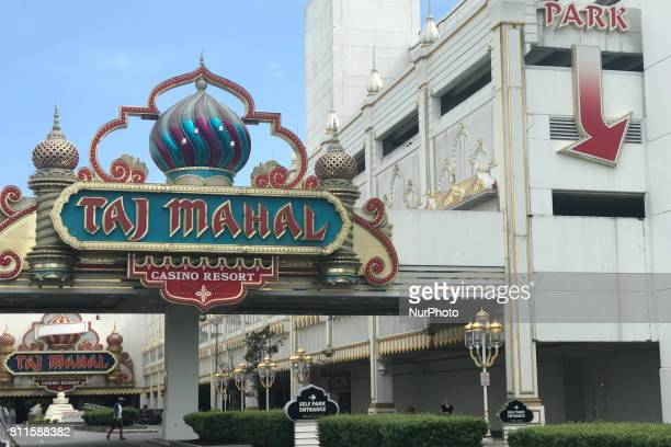 Exterior view of the main entrance during the third day of a liquidation sale at the former Trump Taj Mahal Casino and Resort in Atlantic City New...