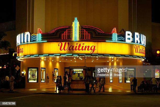 """Exterior view of the Mann's Bruin Theater during the Los Angeles film premiere of """"Waiting"""" at the Mann's Bruin Theater on September 29, 2005 in..."""