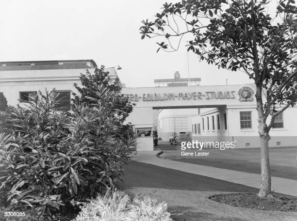 Exterior view of the Metro Goldwyn Mayer Studios in Los Angeles, California. The signature lion watches incoming cars on a plaque to the right of the...