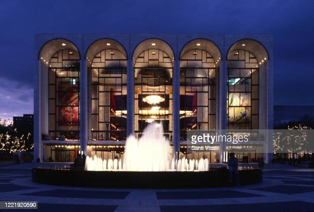 Exterior view of the Metropolitan Opera House at night on March 6, 2016 in New York, New York.