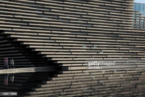 Exterior view of the new VA Museum on the 8th November 2018 in Dundee Scotland in the United Kingdom The Japanese Architect Kengo Kuma designed the...