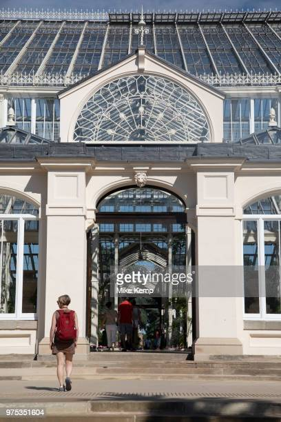 Exterior view of the newly refurbished Temperate House at Kew Gardens in London United Kingdom The Royal Botanic Gardens Kew usually referred to...