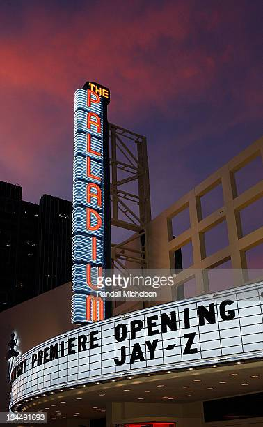 Exterior view of the newly restored Hollywood Palladium at its Grand Reopening with a Special Performance by JayZ on October 15 2008 in Hollywood...