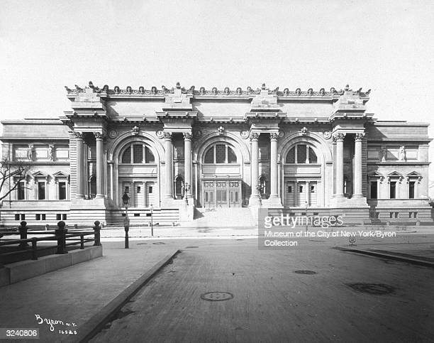 Exterior view of the newly-completed facade of the Metropolitan Museum of Art, located at Fifth Avenue and 83rd Street, on the east side of Central...