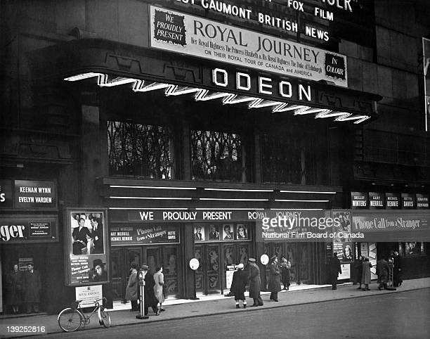 Exterior view of the Odeon Theatre in Leicester Square where the NFB film 'Royal Journey' is being shown London England 1952 Photo taken during the...