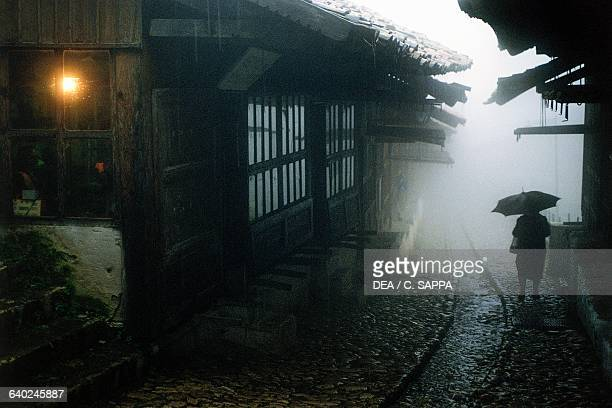 Exterior view of the old bazaar on a rainy day, Kruje, Albania.