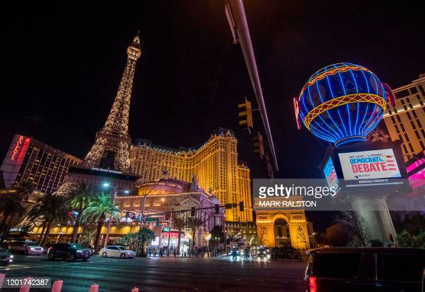 Exterior view of the Paris Las Vegas hotel which is the venue for tomorrows Democratic Presidential Debate hosted by NBC News and MSNBC with The...