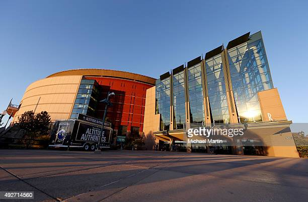 Exterior view of the Pepsi Center prior to the game between the Colorado Avalanche and the Boston Bruins on October 14 2015 in Denver Colorado