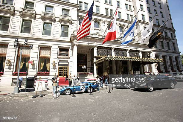 A exterior view of the Plaza hotel as the 1965 Shelby Cobra 'American Jewel' is displayed as the most expensive car up for auction on April 28 2009...