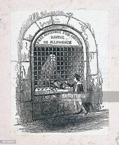 Exterior view of the poor debtors' room at Fleet Prison London c1800 showing a boy giving money to a debtor