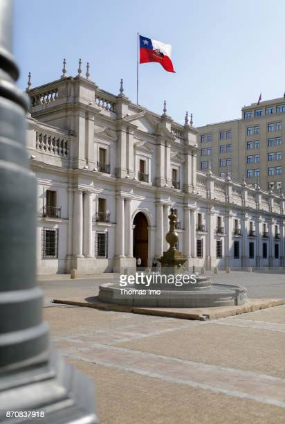 Exterior view of the Presidential Palace La Moneda in Santiago de Chile capital of Chile on October 15 2017 in Santiago de Chile Chile