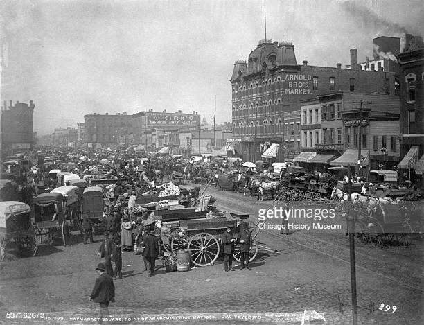 Exterior view of the Randolph Street Haymarket Square Point of the Anarchists Riot in May 1886 taken in Chicago Illinois
