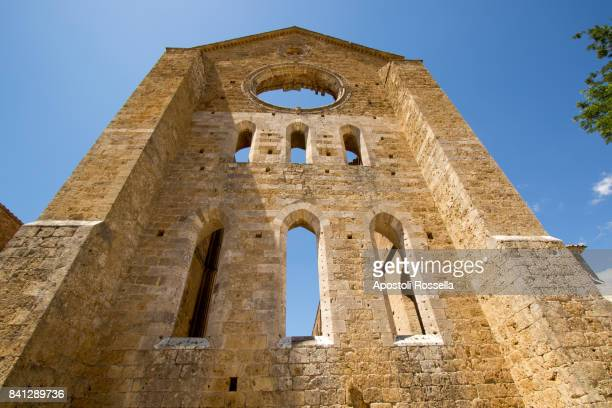 Exterior view of the roofless old abandoned cathedral of San Galgano, Tuscany