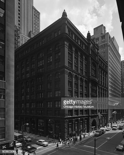 Exterior view of the Rookery Building at 209 South LaSalle Street on the corner of La Salle and Adams streets in the Loop community of Chicago...