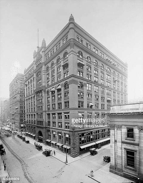 Exterior view of the Rookery Building, located at 209 South LaSalle Street, Chicago, Illinois, circa 1905. The building was designed by architects...