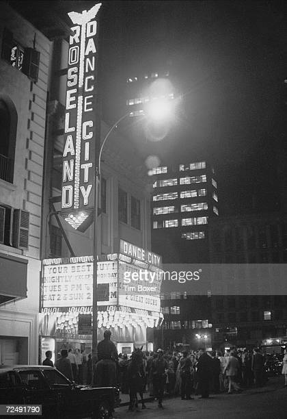 Exterior view of the Roseland Ballroom on the night of the Phoenix House benefit nostalgia party New York City June 5 1972