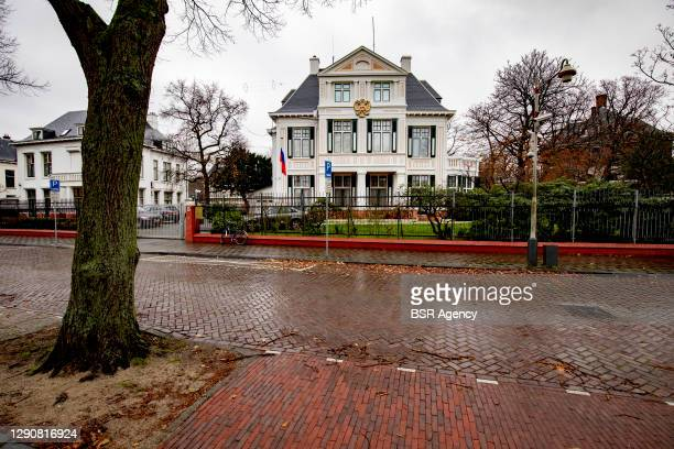 Exterior view of the Russian Embassy on December 11, 2020 in The Hague, Netherlands. Two Russian diplomats have been exposed as spies and have been...